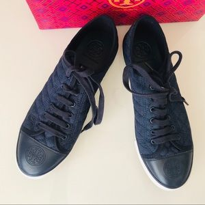 Tory Burch Navy Quilted Denim Logo Sneakers 11